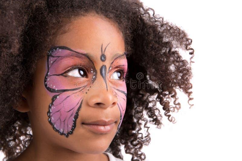 Pintura de la cara, mariposa fotografía de archivo libre de regalías