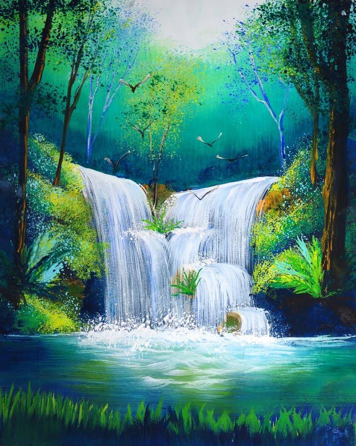 Pintura de la cascada ilustración del vector