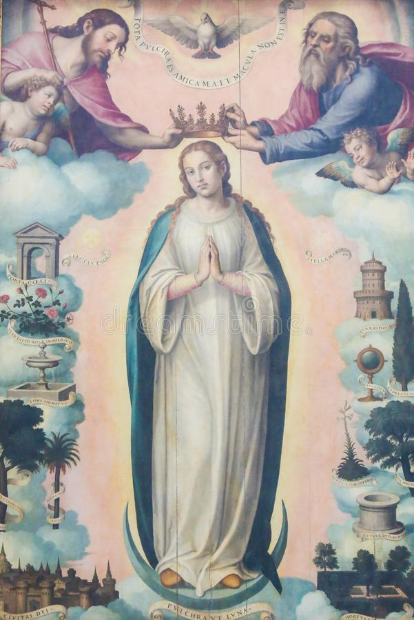 Pintura de la coronación de la madre Maria por la trinidad santa, imagen de archivo libre de regalías