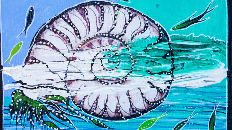 Pintura de la lona de la cáscara del nautilus fotografía de archivo libre de regalías