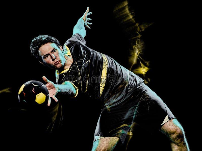 Pintura de la luz de la velocidad del hombre joven del jugador del balonmano fotografía de archivo