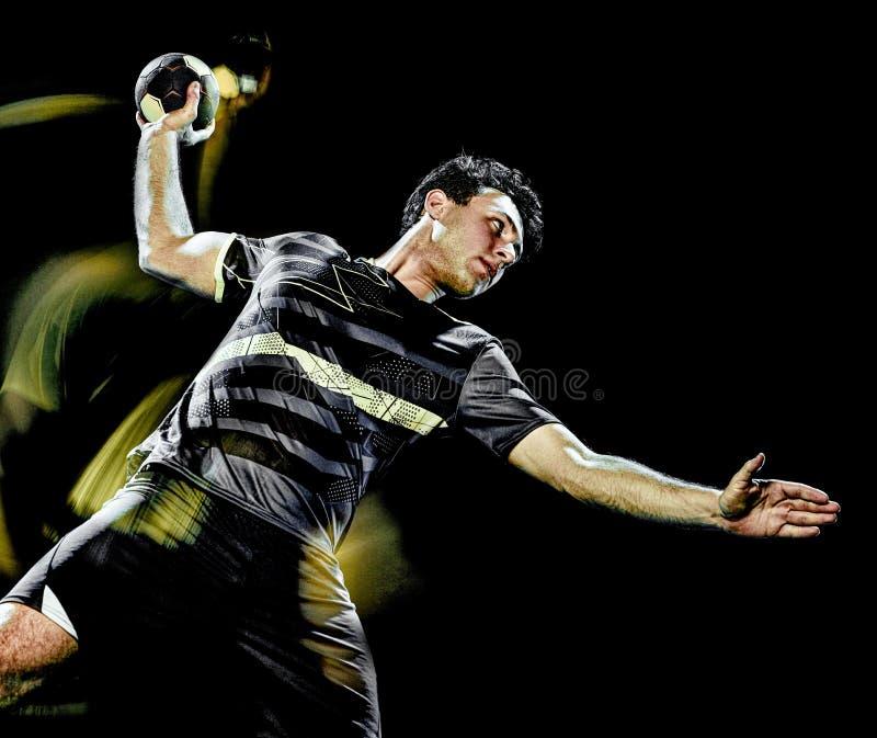 Pintura de la luz de la velocidad del hombre joven del jugador del balonmano fotos de archivo