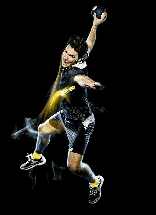 Pintura de la luz de la velocidad del hombre joven del jugador del balonmano imagen de archivo libre de regalías