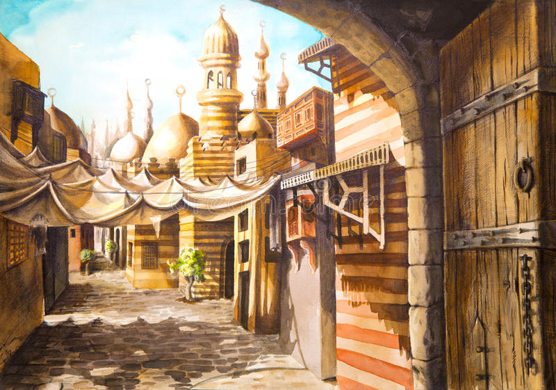 Pintura de la mezquita stock de ilustración