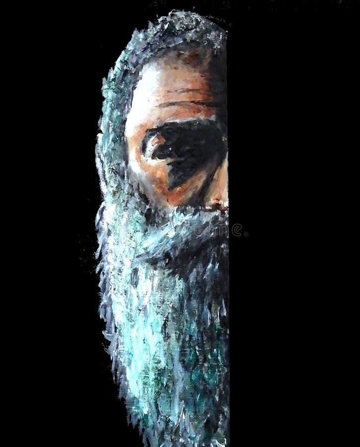 Pintura de la mitad de la cara del viejos hombres con una barba que sugieren enfermedad mental stock de ilustración