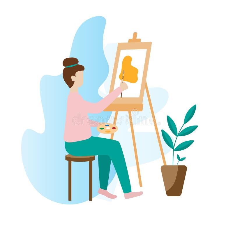 Pintura de la mujer del artista con la paleta, el cepillo y el caballete libre illustration