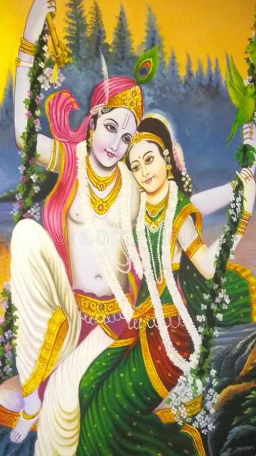Pintura de la pared de dioses indios imagen de archivo