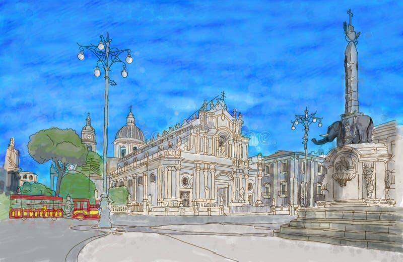 Pintura de la plaza principal de Catania imagenes de archivo