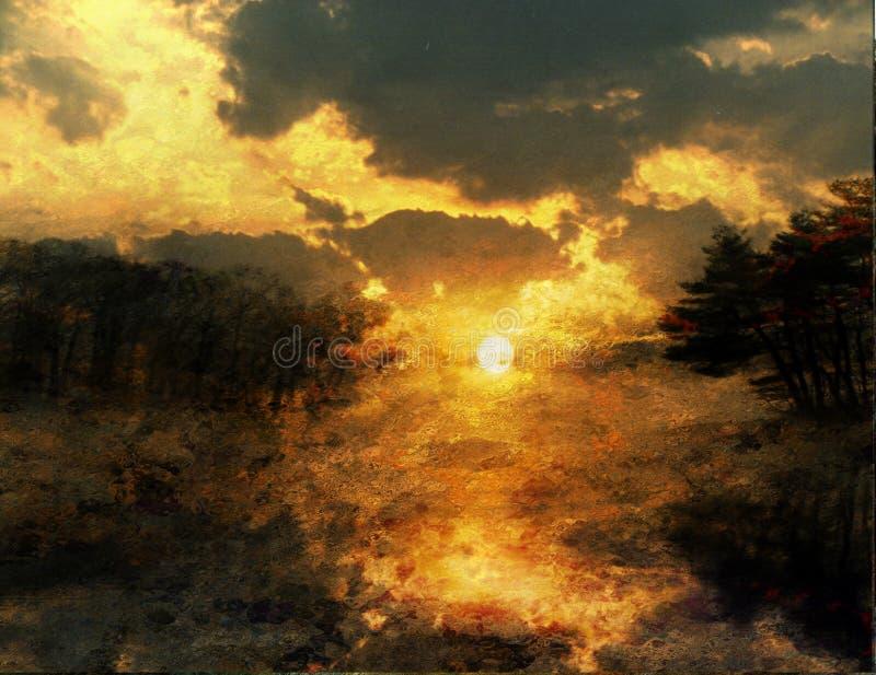 Pintura de la puesta del sol ilustración del vector