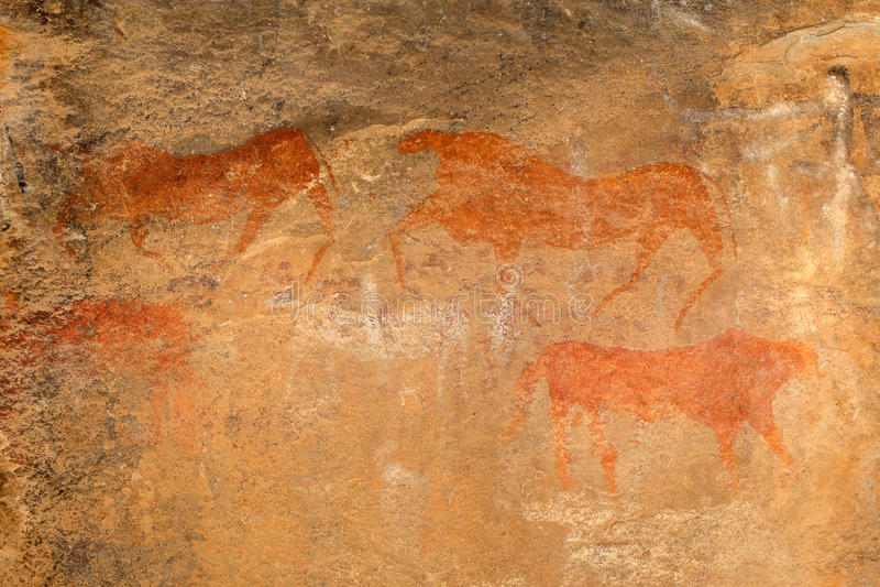 Pintura de la roca de los bosquimanos stock de ilustración
