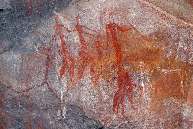 Pintura de la roca de los bosquimanos - Suráfrica stock de ilustración