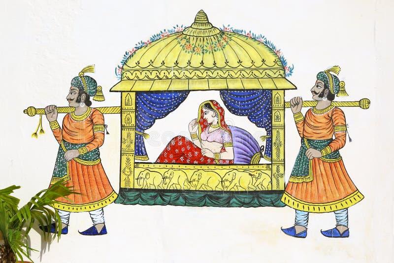 Pintura de la silla de sedán en la pared de Udaipur imagen de archivo