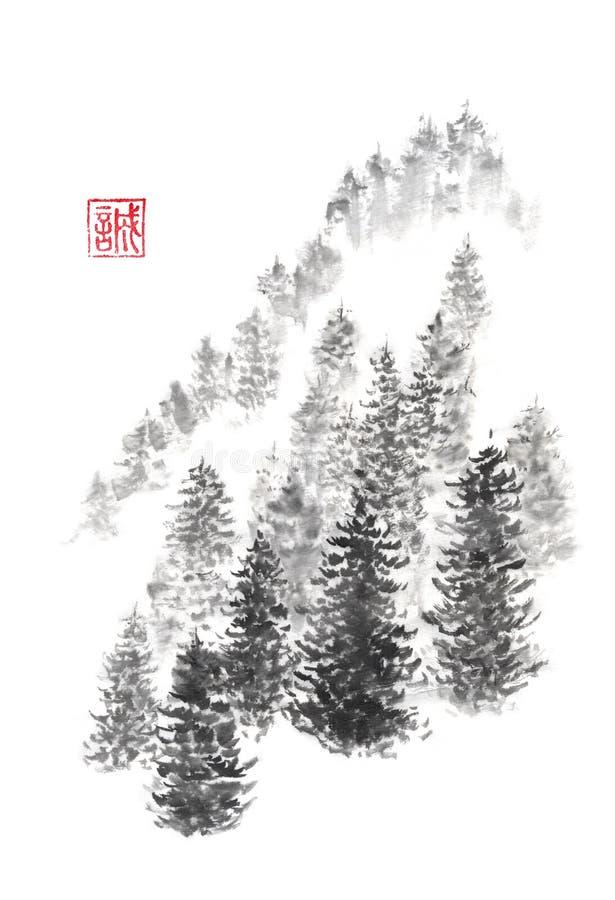 Pintura de la tinta de la colina del pino del sumi-e del estilo japonés stock de ilustración