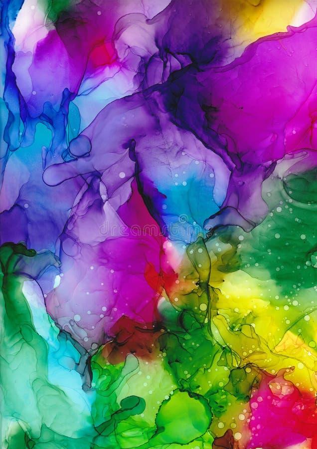 Pintura de la tinta del alcohol Fondo del arte abstracto Contexto brillante libre illustration