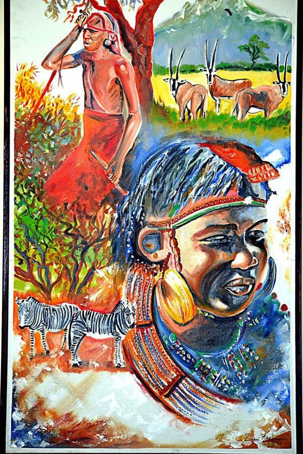Pintura de la vida del maasai del Kenyan imagenes de archivo