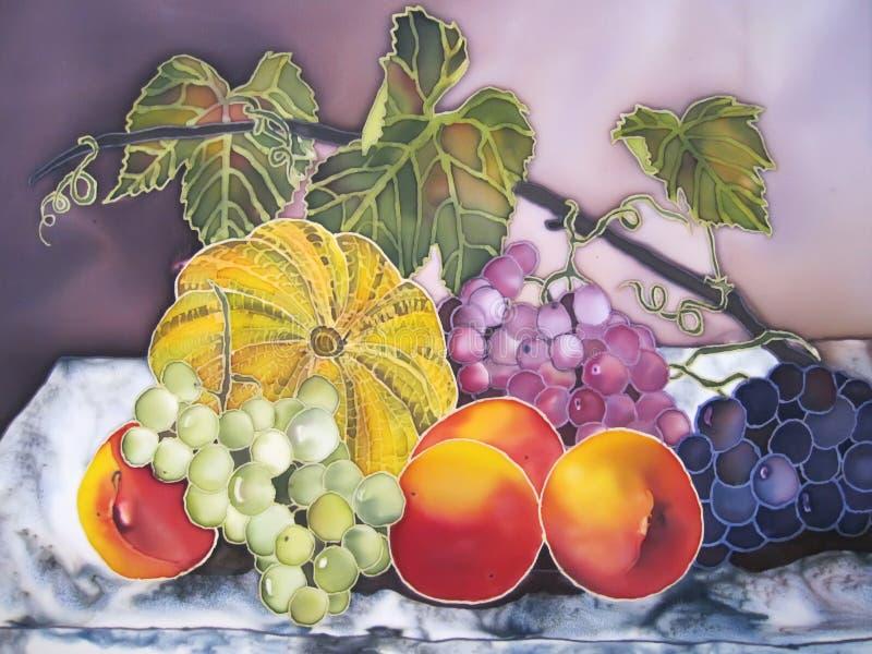 Pintura de la vida inmóvil con las frutas. Calabaza, melocotones, uvas. stock de ilustración
