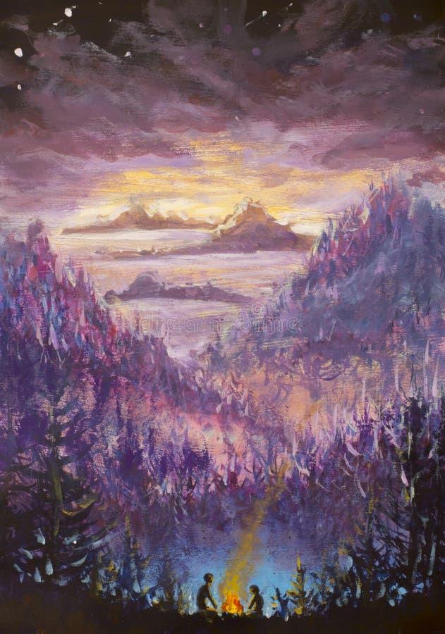 Pintura de las montañas y de las islas violetas, vegetación, amanecer, paisaje abstracto, naturaleza mística, posts-apocalipsis,  libre illustration
