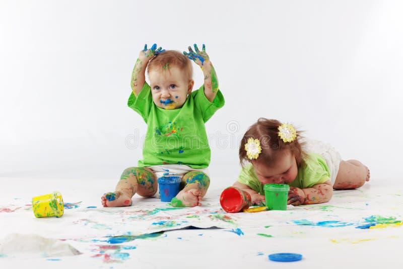 Pintura de los bebés imagen de archivo libre de regalías