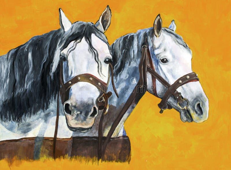Pintura de los caballos de condado ilustración del vector