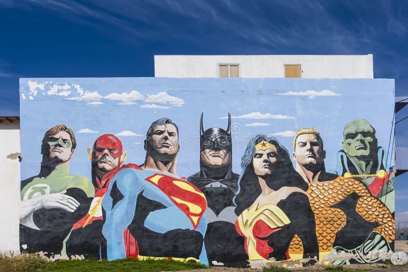 Pintura de los héroes de la historieta fotos de archivo libres de regalías