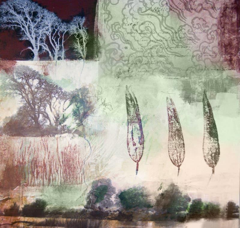 Pintura de los media mezclados de árboles y de hojas foto de archivo libre de regalías