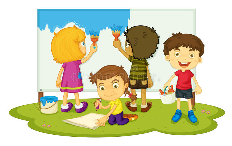 Pintura de los niños stock de ilustración