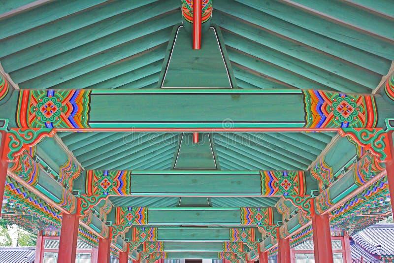 Pintura de madeira do feixe de telhado de Coreia foto de stock