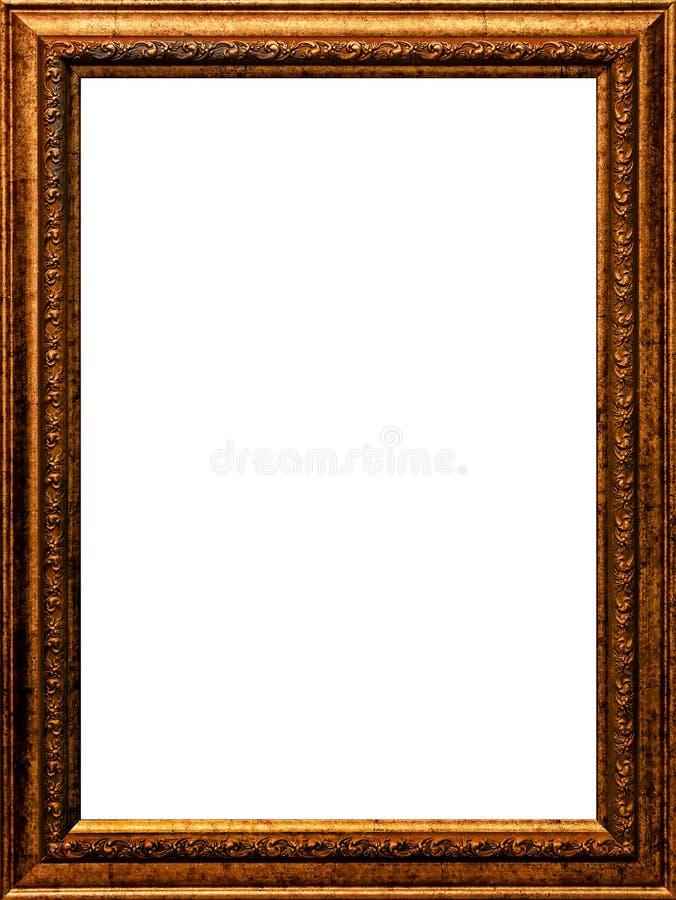 A pintura de madeira do ouro do quadro da foto do vintage velho do tempo chapeada isolou o imagens de stock royalty free