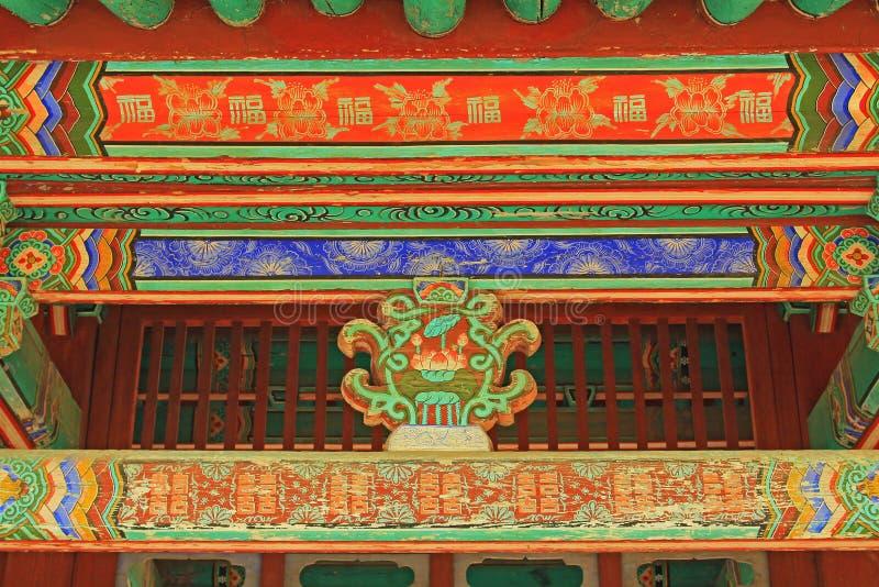 Pintura de madera del haz de tejado de Corea imágenes de archivo libres de regalías