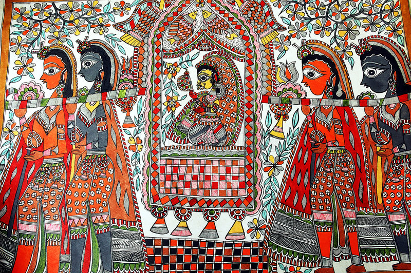 Pintura de Madhubani. fotografia de stock royalty free