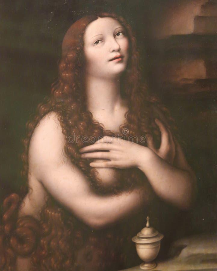 Pintura de Magdalena del La en la catedral de Burgos fotografía de archivo