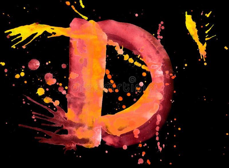 Pintura de néon da aguarela - letra D ilustração stock