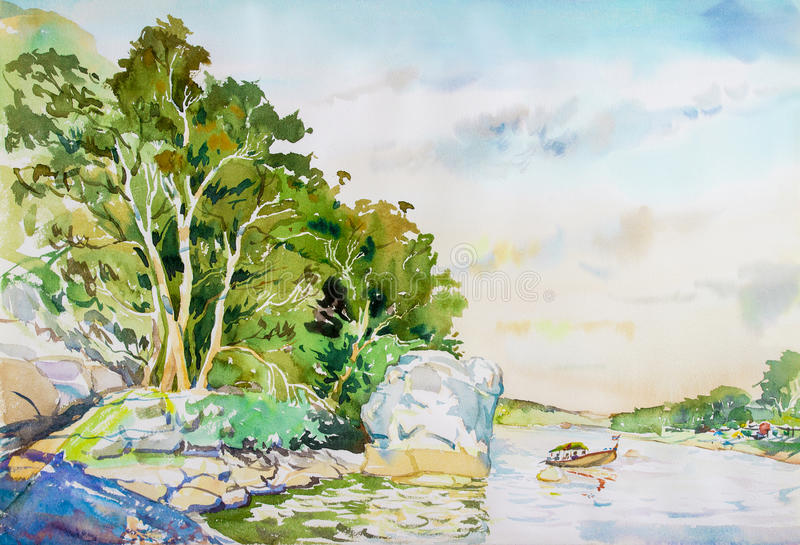 Pintura de paisagem colorida de navios de passageiro no rio ilustração royalty free