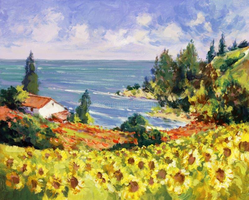 Pintura de paisagem do mar ilustração stock