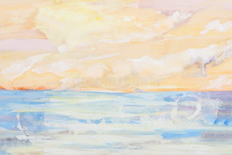 Pintura de paisagem do mar ilustração do vetor