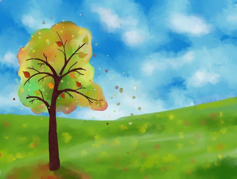 Pintura de paisagem do outono ilustração do vetor