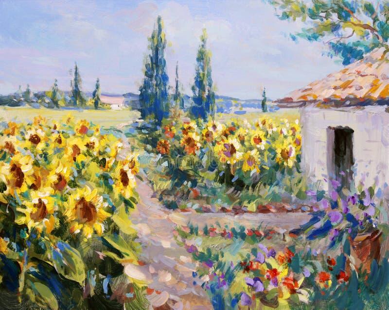 Pintura de paisagem do verão imagens de stock royalty free