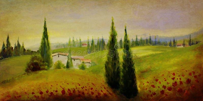 Pintura de paisagem do vintage ilustração stock