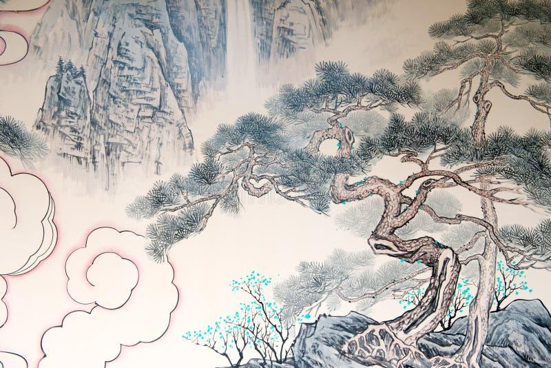 Pintura de paisaje china stock de ilustración