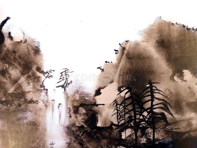 Pintura de paisaje china de la montaña stock de ilustración