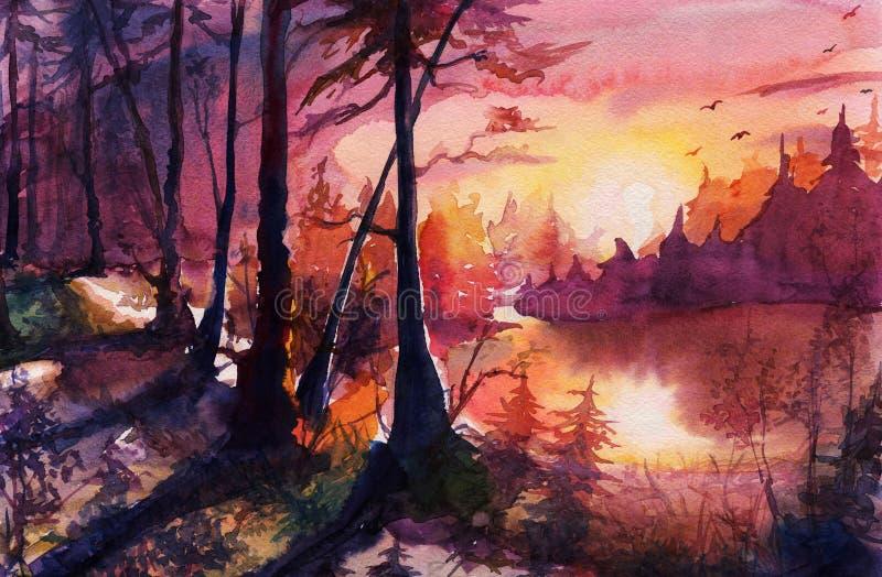 Pintura de paisaje del bosque de la acuarela, arte de dibujo abstracto hermoso con la puesta del sol, salida del sol, otoño, arte stock de ilustración