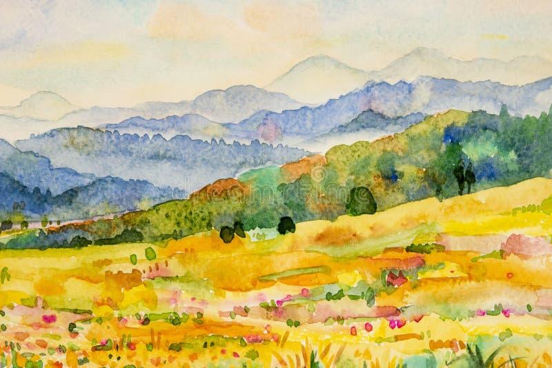 Pintura de paisaje de la acuarela de la montaña y del prado stock de ilustración