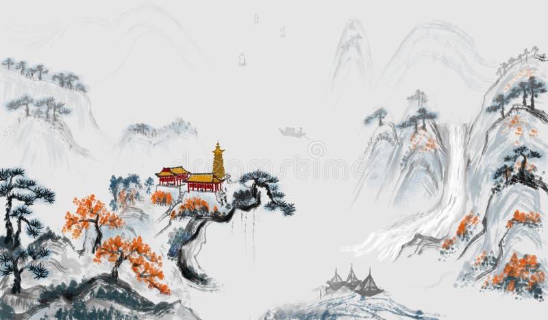 Pintura de paisaje de la pintura de la poesía del zen ilustración del vector