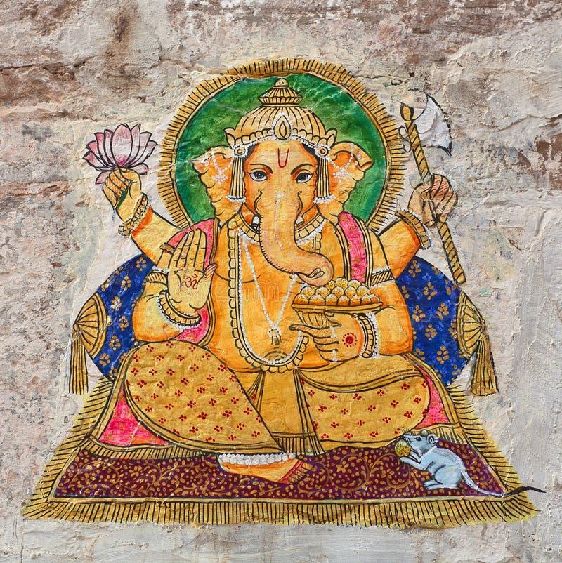 Pintura de pared colorida india tradicional en Udaipur, Rajasthán, la India imagenes de archivo