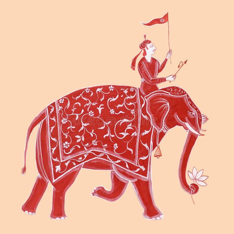 Pintura de pared colorida tradicional en el haveli viejo en Udaipur, Rajasth?n, la India imagenes de archivo