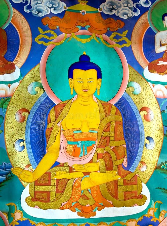 Pintura de pared de Buda en el monasterio de Hemis, Leh-Ladakh, la India imagen de archivo libre de regalías