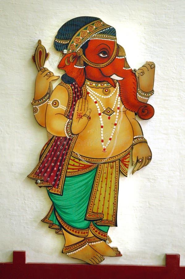 Pintura de pared de señor Ganesha, palacio de la ciudad, udaipur foto de archivo