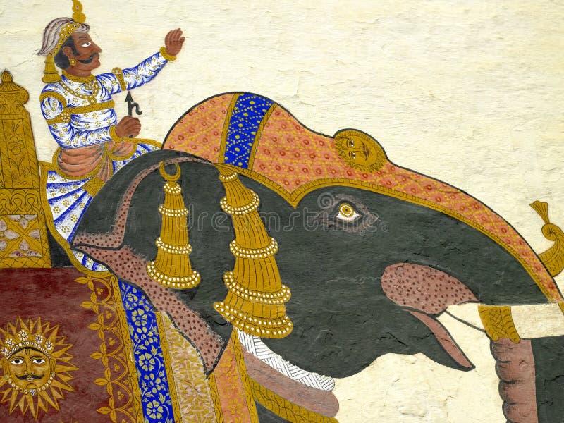 Pintura de pared de un Maharaj3a - Rajasthán - la India. fotografía de archivo libre de regalías