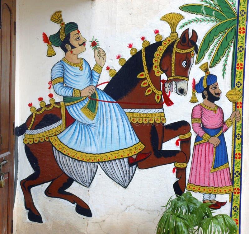 Pintura de pared del caballo con el Maharaj3a fotografía de archivo libre de regalías