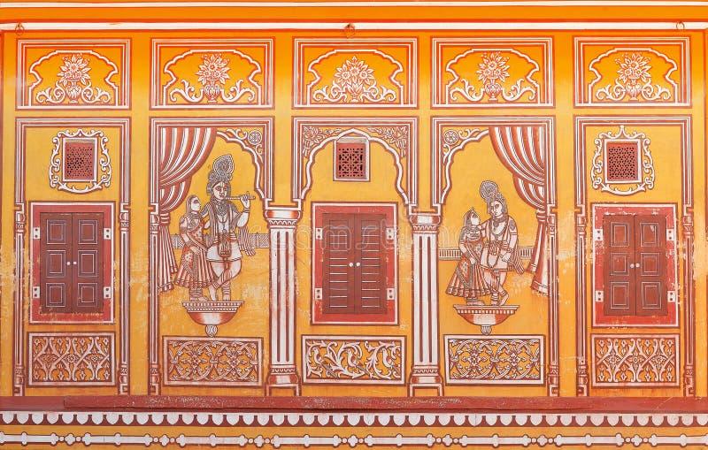 Pintura de pared en el templo de Sri Madhavbihari Tanwarjis en Jaipur, la India fotografía de archivo libre de regalías